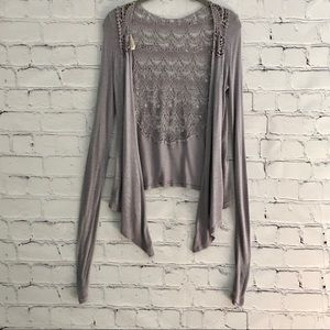 Anthropologie Pins and Needles Gray Cardigan Lace